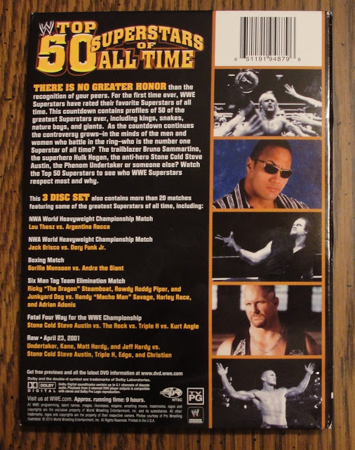 WWE 'Top 50 Superstars of All Time' DVD - Photos, Back Cover