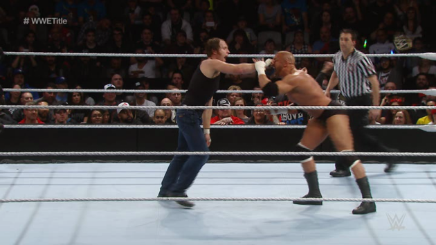 WWE - Dean Ambrose Pulls Triple H's Big Nose in a Match!