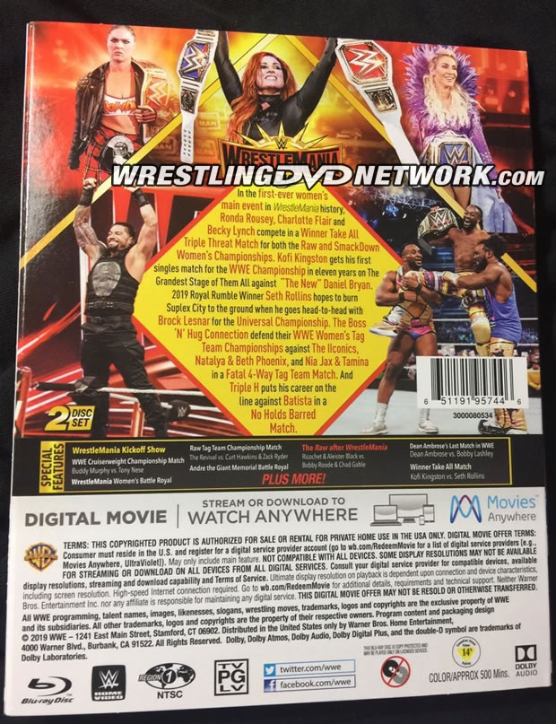 WWE WrestleMania 35 Blu-ray - Photos, Back Cover
